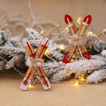 Decoración navideña de trineo de madera para el hogar, campana de esquí...
