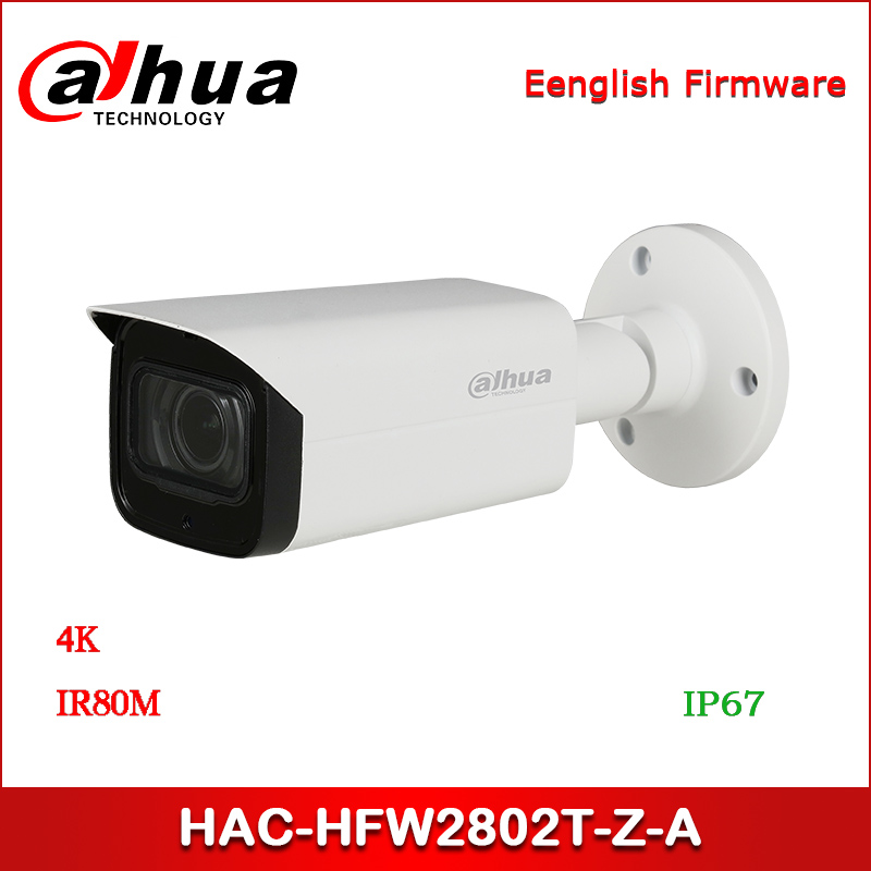 Dahua 8MP HAC-HFW2802T-Z-A 4K CCTV Camera Starlight HDCVI IR Bullet Camera 3.7-11mm motorized lens