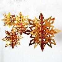 6 piezas de oro plata blanco de Navidad decoraciones de copos de nieve copo de nieve guirnalda de adornos de Navidad decoración fiesta de cumpleaños