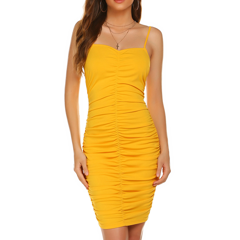Yellow Cocktail Dress Elegant Spaghetti Straps Short Mini Sleeveless Pleats Night Club Women Evening Party Cocktail Dresses