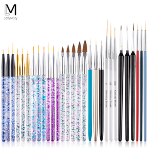 5pcs/set Nail Brush For Manicure Nail Art Line Painting Pen Set 3D Tips Acrylic UV Gel Brushes Drawing Crystal Liner Brush