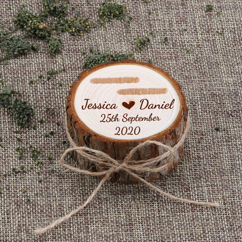 Ring-Box Wedding-Ring Wooden Rustic Customized title=