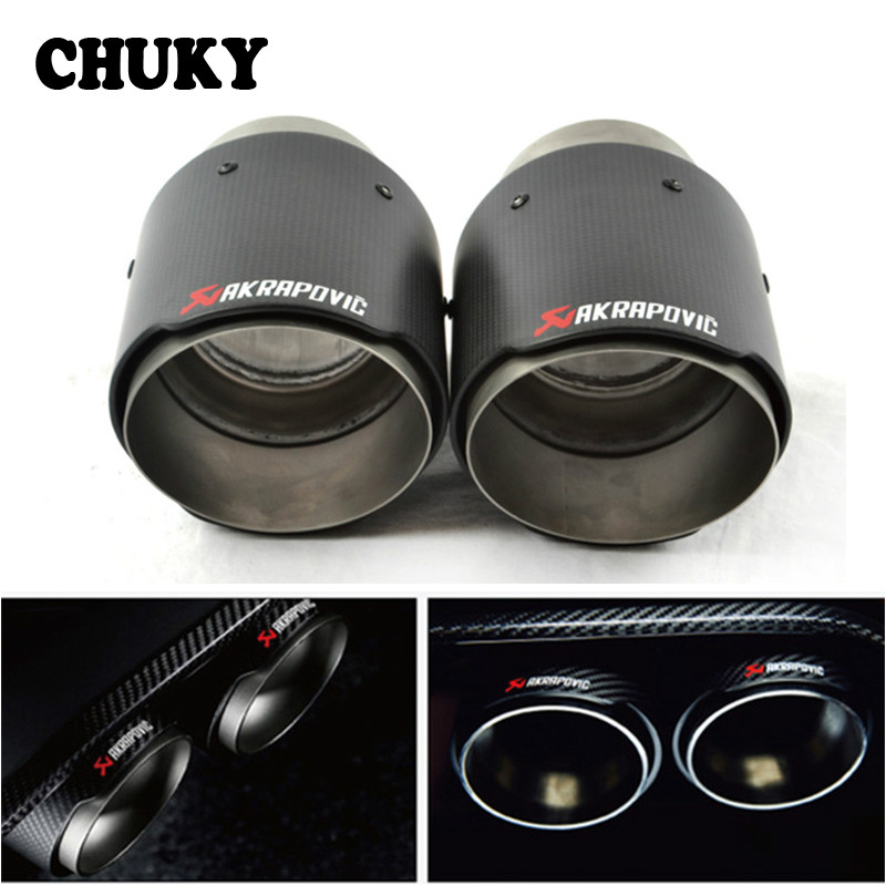 Akrapovic Car Exhaust Carbon Muffler Tip For Cadillac ATS Jeep <font><b>grand</b></font> <font><b>cherokee</b></font> Prado Mazda 6 Atenza CX-5 CX5 <font><b>2019</b></font> 2016 2017 2018 image