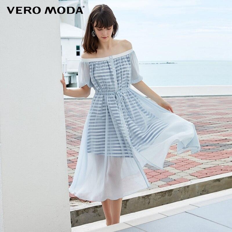 Vero Moda New Arrivals Striped Off Shoulder Gauzy Elbow Sleeves Beach Dress   31926Z535