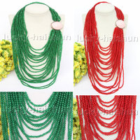 JQHS AAA natural 20row 17 4mm round green red jades Beaded Strand necklace j11396 4