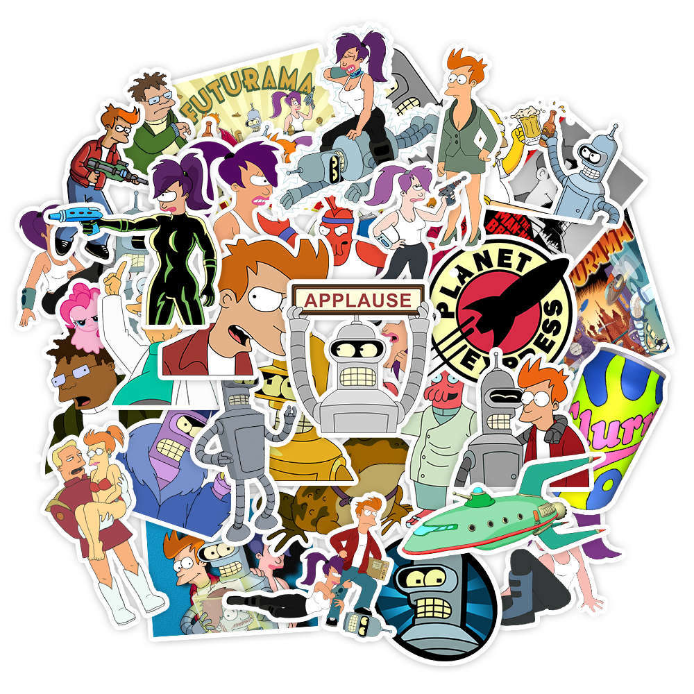 50Pcs Futurama Stickers Cartoon Kids Toy Sticker For DIY Luggage Laptop Phone Skateboard Scrapbooking Decal Children Gifts