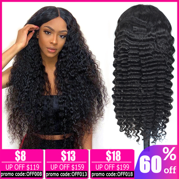 13x4 lace front wig Brazilian wig deep wave wig short lace front human hair wigs for black women bob lace front wigs Non-Remy alidoremi brazilian deep wave 13x4 lace front wig 100