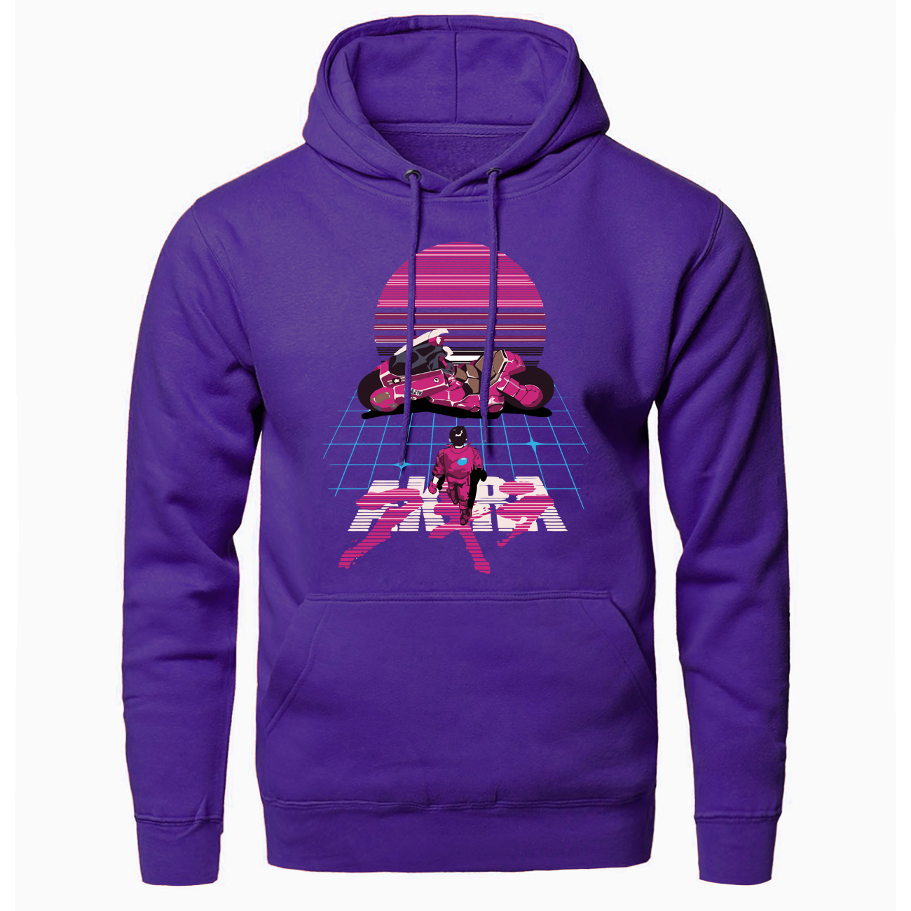 Fashion Akira Synthwave Japanese Anime Print Men Hooded Sweatshirts Pullover Casual Clothes Spring Autumn Coats Slim Fit Jackets