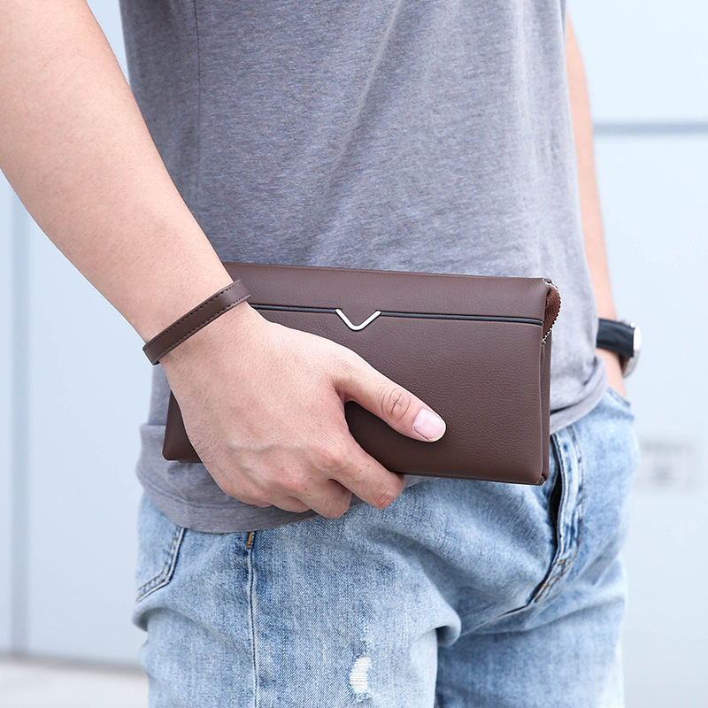 Long Wallet Men's Wallet Large Capacity Zipper Clutch Bag Small Handbag Pu Soft Leather  Mobile Phone Bag Tide Card Package
