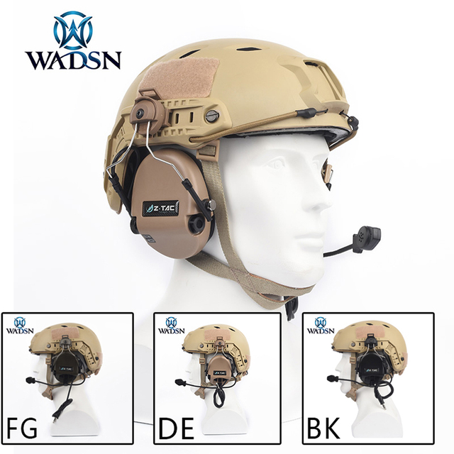 WADSN Sordin Headset Noise Canceling Earphone With FAST Helmet Rail Adapter Set For Military Airsoft Hunting Headphone WZ034