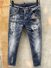 Europejski amerykański dżinsy dsq markowe dżinsy spodnie męskie dopasowane dżinsy spodnie jeansowe przycisk niebieskie spodnie ołówkowe z dziurami dżinsy dla mężczyzn 849