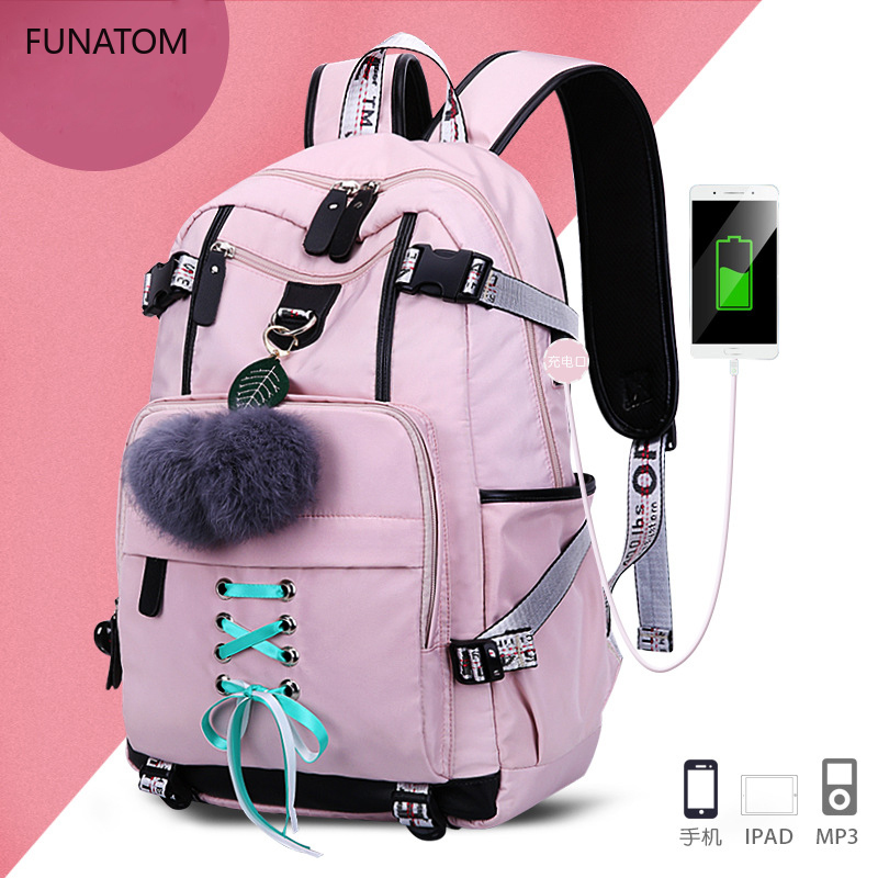 USB Women Backpack Girl High School Backpacks For Teenagers Girls Waterproof Nylon Boy School Bags Child Orthopedics Schoolbags