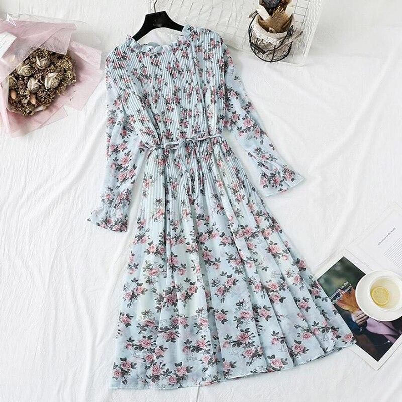 Women Long Dress 2020 Spring Autumn Vintage Floral Print Pleated Chiffon Dress Long Sleeve Loose Plus Size Dresses Vestidos
