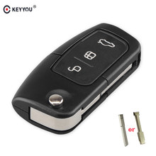Keyyou 3 Knoppen Flip Sleutel Vouwwagen Remote Key Shell Voor Ford Focus Fiesta C Max Ka Smart Key Cover case Fob(China)