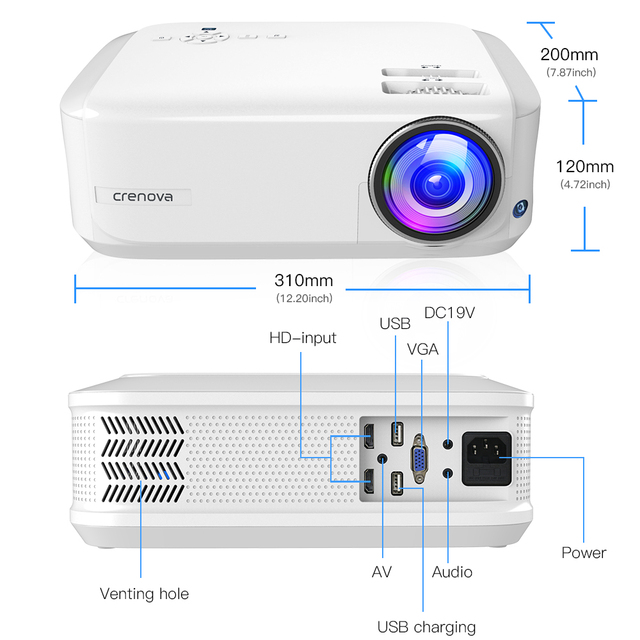 CRENOVA 2019 Newest HD 720P Android 7.1OS Video Projector Support 4K Dolby Video Home Cinema Movie Beamer, Optional (2G 16G) 5