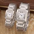 Marca de luxo Mulheres Novas Dos Homens de Safira Japão Esportes De Quartzo de Aço Inoxidável Completa Prata Quadrado Clássico Relógios Mãos Azul AAA +