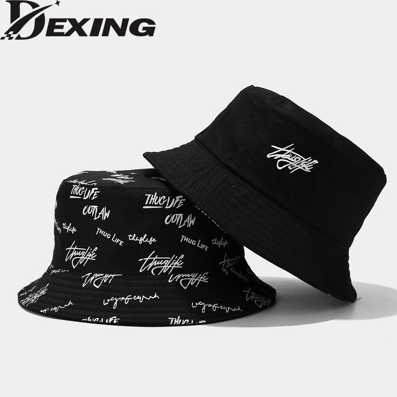 Sombrero de cubo de letras para el sol, Unisex, informal, de pescador, color blanco y negro, a la moda, primavera y verano, 2021
