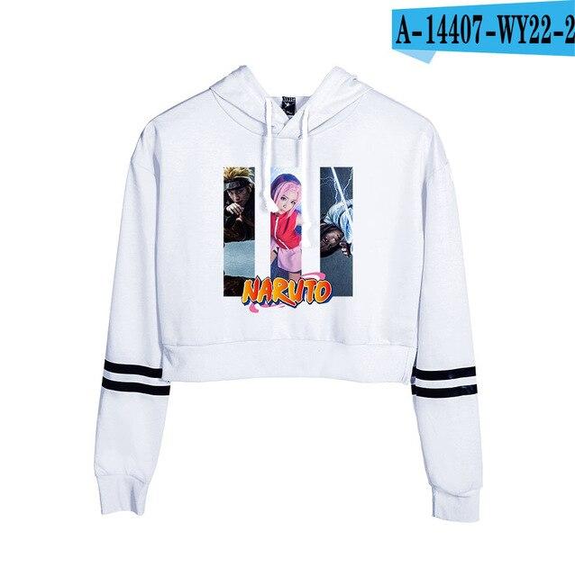 Now United Crop Top Hoodies Harajuku Japanese Anime Uzumaki Printed Hoodie Women Streetwear Fashion Cropped Sweatshirt Coat 22