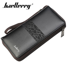 Baellerry Wallet Men Business Veins Long PU Leather Zipper Porta Rope Clutch Bag Note Compartment Smartphone Hold