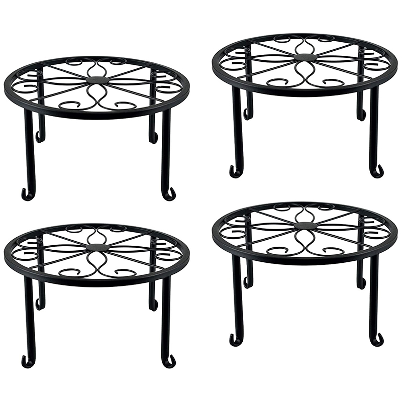 4 Pieces of Plant Stand Indoor and Outdoor Metal Rust-Proof Plant Stand, Classic Flower Pot Stand