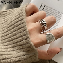 ANENJERY Fashion Width Surface Knot Winding Thai Silver Color Ring Open Finger Ring For Women Jewelry Gifts S-R740