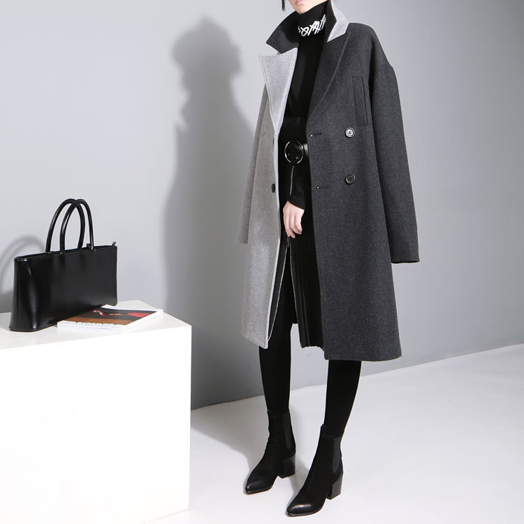 [EAM] 2020 New Spring Lapel Long Sleeve Solid Color Black Gray Split Joint Loose Big Size Jacket Women Fashion JC969 1