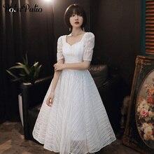 Prom-Dresses Sequin Tea-Length Elegant Long Lace Simple White Medium