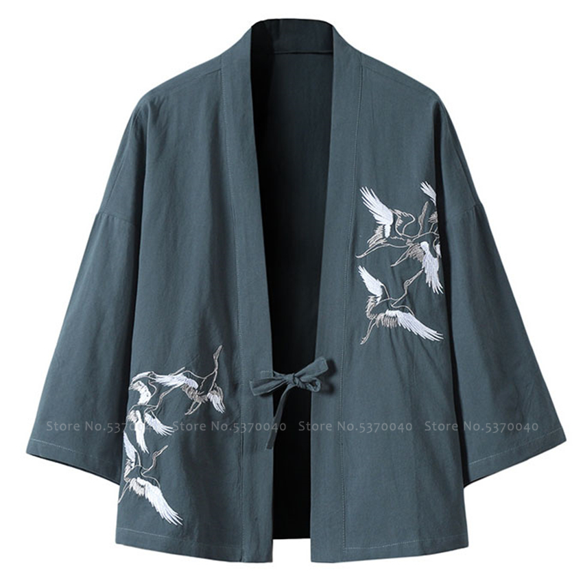 Japanese Style Kimono Robes Traditional Crane Print Haori Cardigan Asian Clothes Samurai Yukata Men Jackets Hip Hop Streetwear