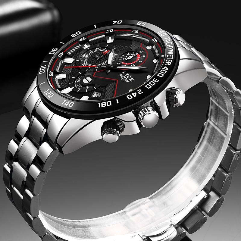 Relogio Masculino 2020 New Watches Men Luxury Brand LIGE Chronograph Men Sports Watches Waterproof Full Steel Quartz Men's Watch