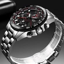 LIGE – Montre étanche et entièrement en acier et quartz pour hommes, marque de luxe avec chronographe, nouvelle collection 2020