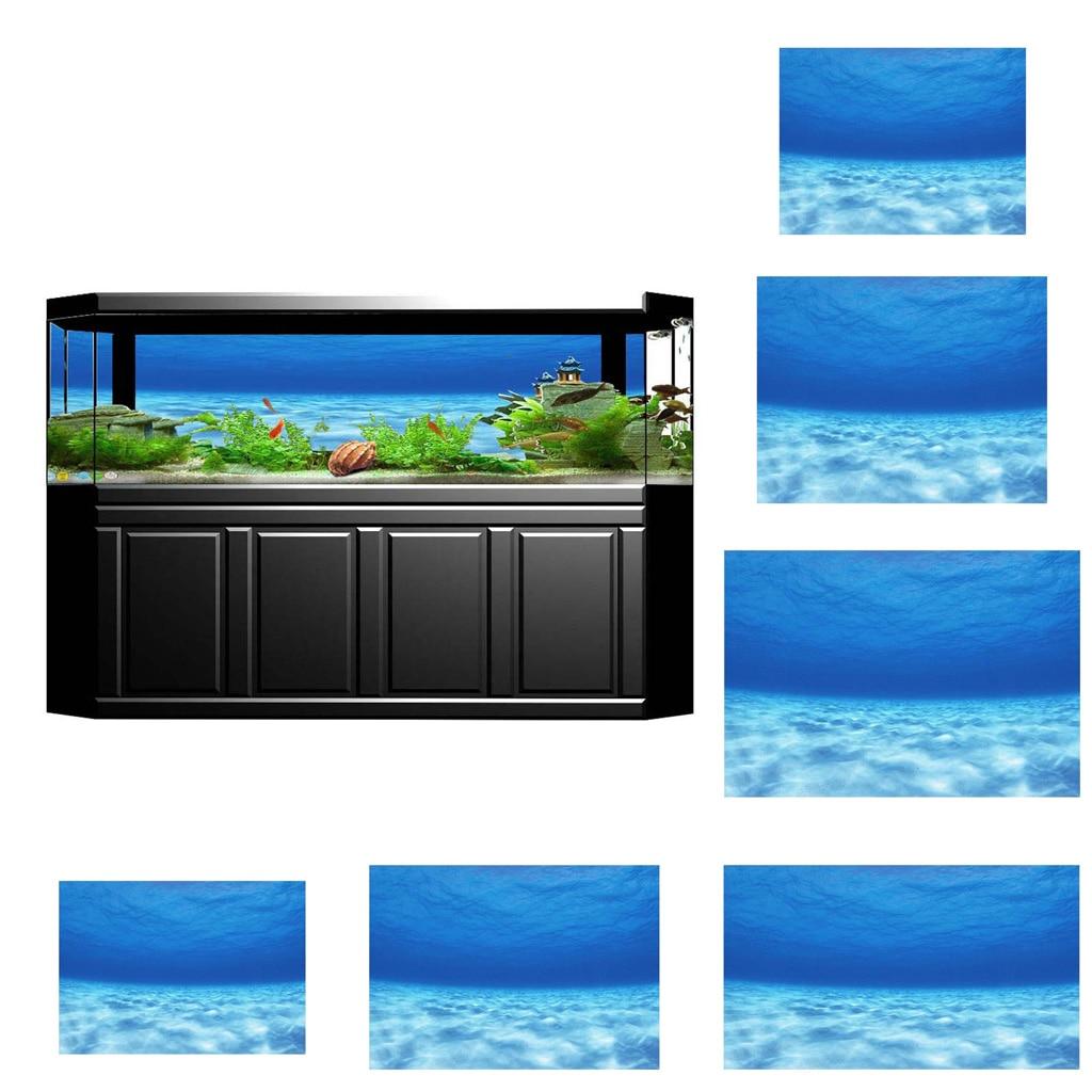 6 Size Fish Tank Underwater Seawater Picture Aquarium Background Poster PVC 3D Adhesive Poster Seawater Image Backdrop, 122x61cm