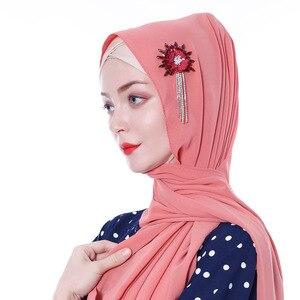 Image 5 - Женский шифоновый хиджаб ручной работы с цветами и кристаллами, шарфы, шаль, шарфы из Дубая, Малайзии, головные уборы, платок, простой шарф, шарфы с драгоценными камнями