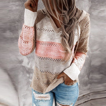Fashion Women Casual Patchwork V-neck Long Sleeves Hooded Sweater Blouse Tops Sweatshirt Girl Casual Clothes Hooded new #XT black plung v neck lantern long sleeves plain blouse