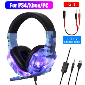 High-Grade Led Light Gamer Wired Headset For PS4 Switch Computer PC Bass Stereo Headphones With Mic Voice Control Men Gifts(China)