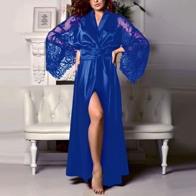 Womens Nightdress Sexy Long LaceLingerie  Bath Robe Gown  Imitation Ice Silk Nightdress Solid Color Nightgown Nightwear 3