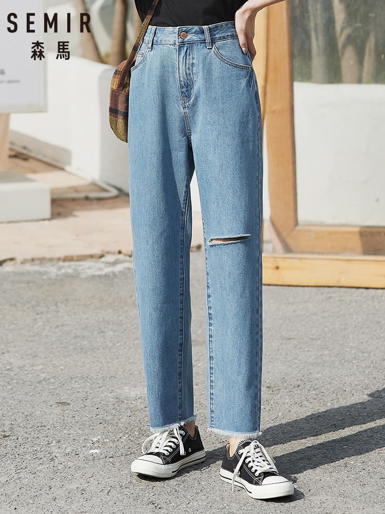 SEMIR Jeans Women 2020 Spring New Loose Small Tapered Pants Hole Retro Chic Thin Slacks Pants Cotton Soft Jeans