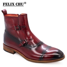 Ankle-Boots High-Top Zipper Winter Men's Luxury Calf Cap Buckle for Stitching Handmade
