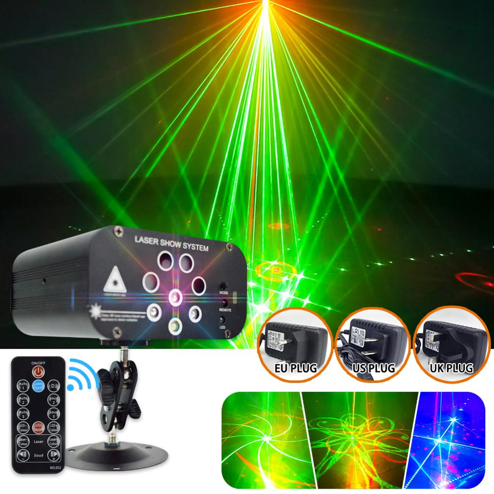 Mini 8 Hole 128 Pattern Laser Projector Remote/Sound Actived LED Disco Light RGB DJ Party Stage Light Christmas Lamp Decoration