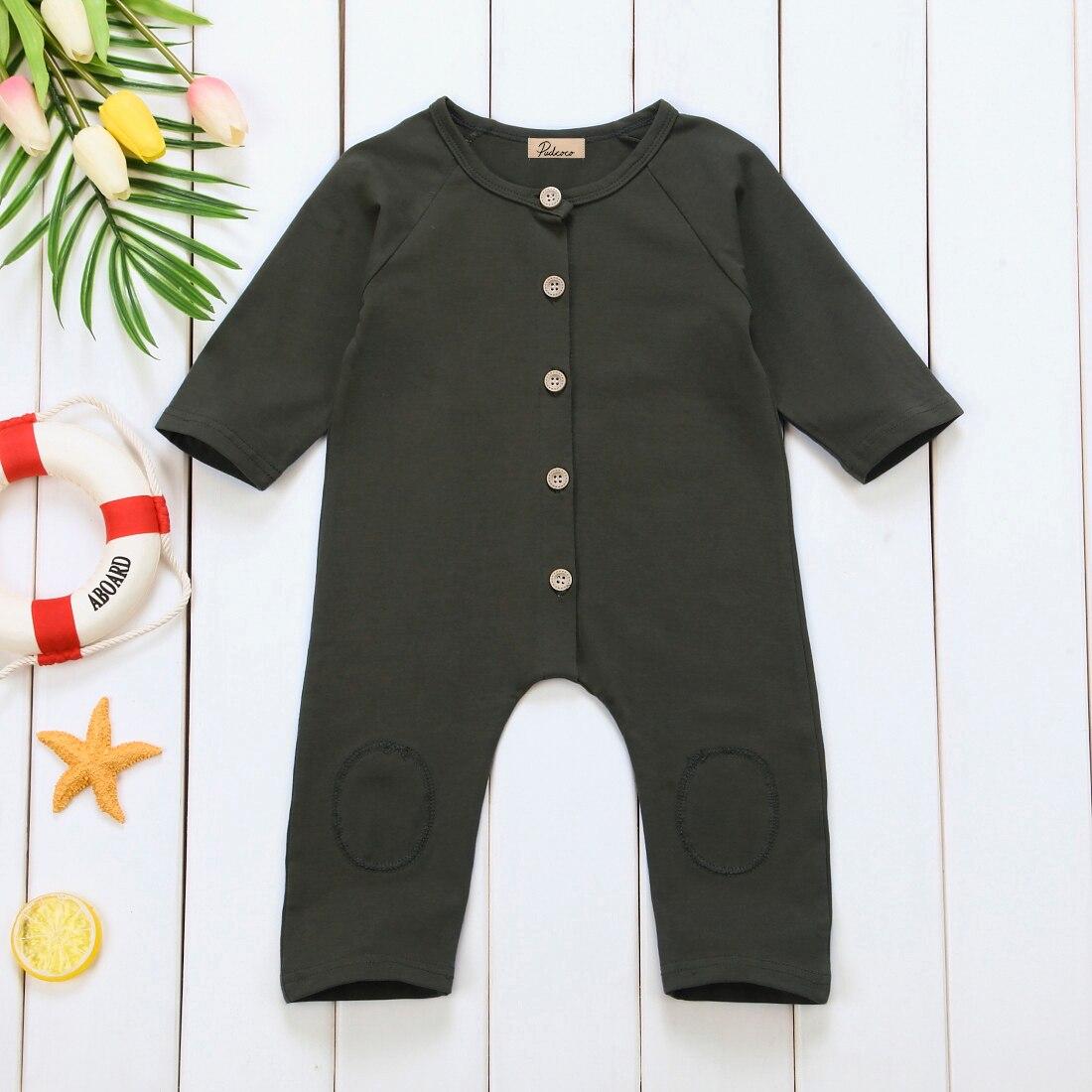 Newborn Baby Boys Girls Unisex Plain Outfits Button Romper Jumpsuit Playsuit US