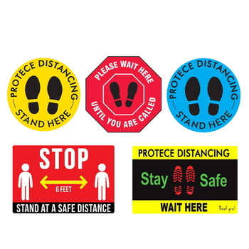 Round Vinyl PVC Social Distancing Floor Signs Wait Here Stand Here Sticker Waterproof Crowd Control image