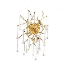 Phube éclairage Branches artistiques cristal applique goutte d'eau applique murale couleur vitrée barre Salon cuivre applique éclairage