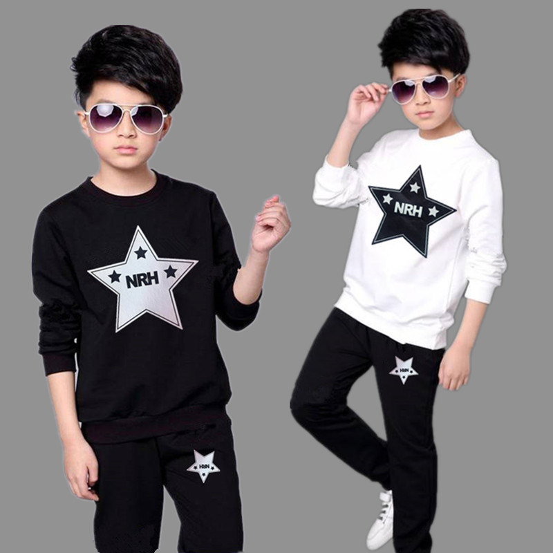 Kids Boys Sports Suit 2019 Spring and Autumn New O-neck Personality Two-piece Youth Casual Clothing Suit Teenage Boys Clothing