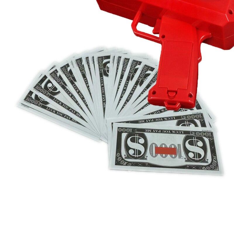 Juego de pistola de dinero rojo y rosa para niños, juguete de regalo de Navidad para fiesta, juego de dinero en efectivo, 100 Uds.