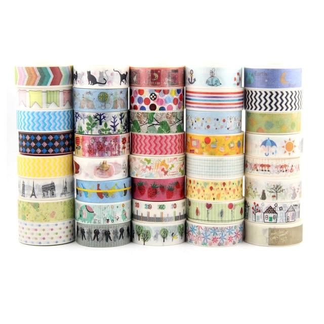 In vendita A Caso Della Miscela 30 rolls del nastro di washi set petalo Del Fiore Animale di Carta Giapponese Washi nastro 15mm * 10m di Alta qualità