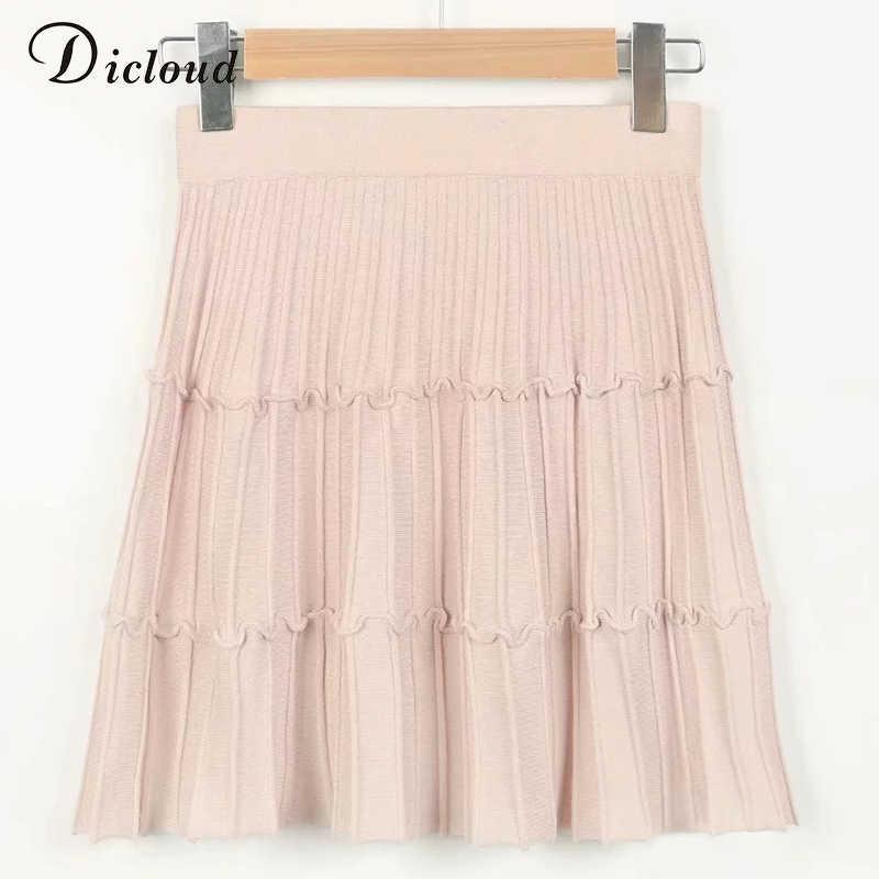 DICLOUD dzianiny zimowe plisowane kobiety mini spódnica różowy czarny wysoka talia casual linia streetwear krótka spódnica moda 2019