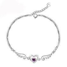 Romantic 925 Silver Jewelry Bracelets for Women Wedding Engagement Promise Party Accessory Heart Shape Zircon Gemstone Bracelet