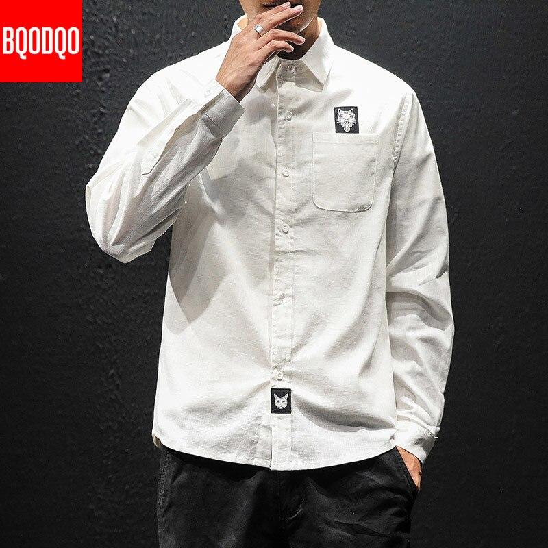 Cotton White Long Sleeve Shirt Men Cat Print Black Korean Fashions Shirts Male Streetwear Spring Autumn Casual Korean Blouse Top