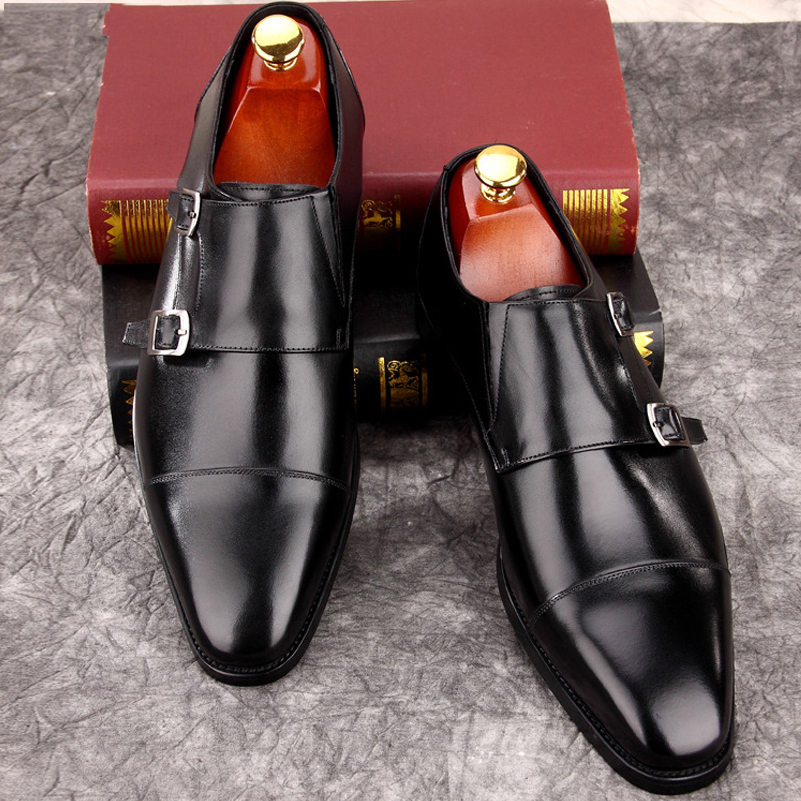 Mens Double Monk Strap Classic Genuine Leather Dress Shoes Mens Suit Shoes High Quality Classic Elegant Shoes New