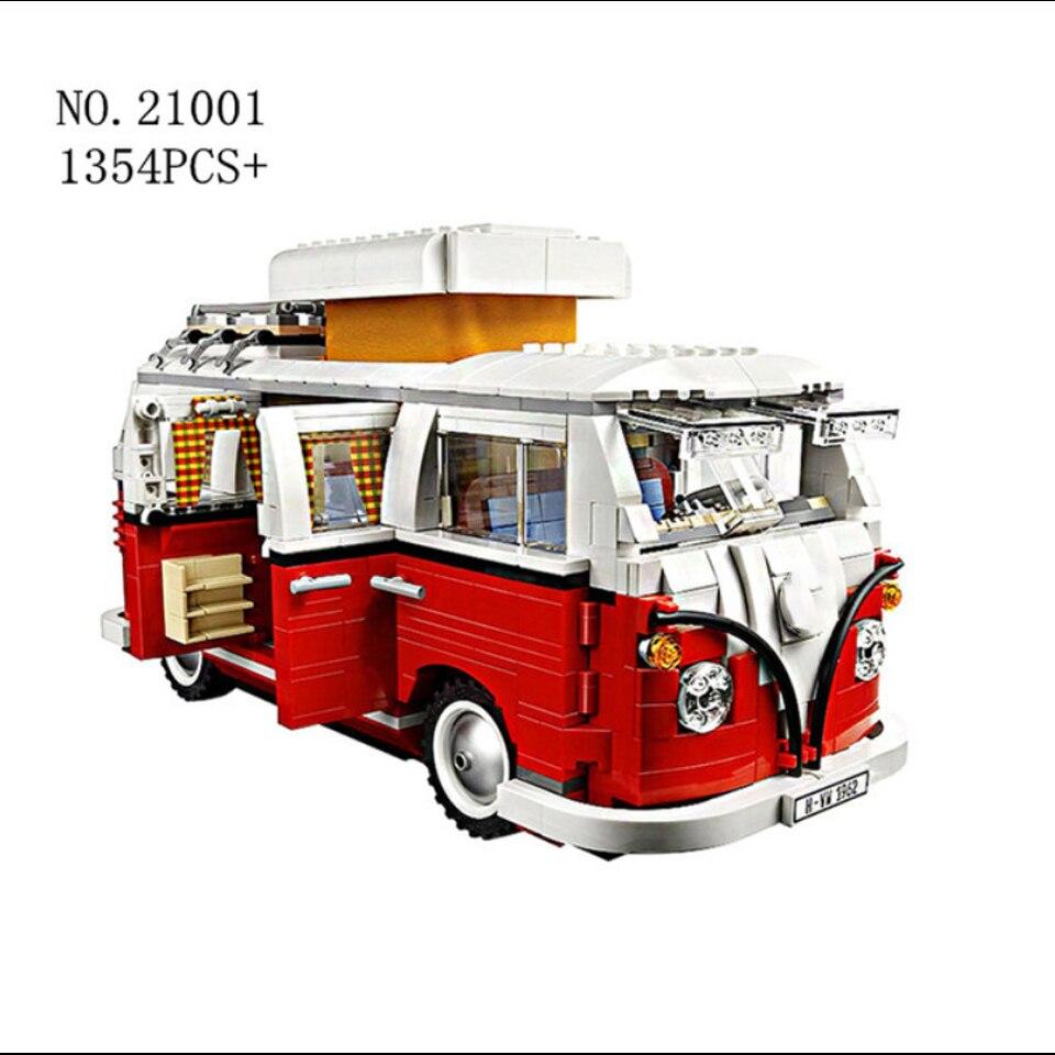 2020 New 1354Pcs Technic Series Volkswagen T1 Camper Van Lepining Model Building Blocks Kits Set Bricks Toys