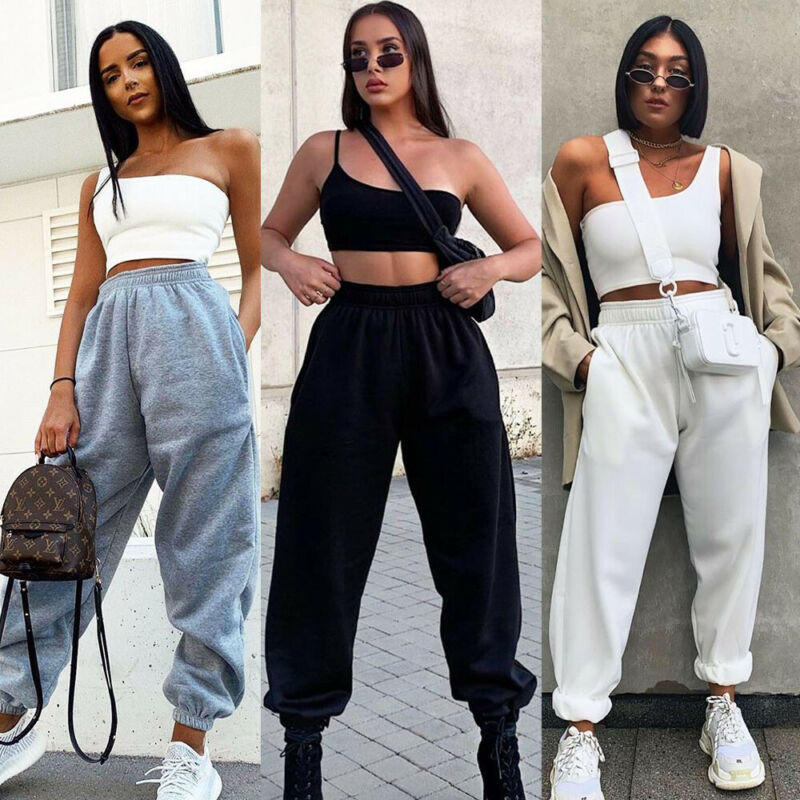 Women Harem Pants Casual High Sweatpants Baggy Long Trousers Dance Joggers Sport Female Two Pockets Tracksuit Elastic  Running